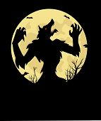 pic of werewolf  - WereWolf vector illustration Halloween Background wallpaper art - JPG