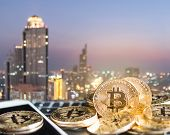 Bitcoin Cryptocurrency Gold Coins Digital Currency For Financial Banking Business And World Stock Ex poster