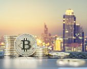 Bitcoin Cryptocurrency Declining Coin Stacks, Lower Value In Digital Currency In Banking Finance Bus poster