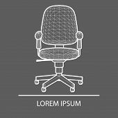 Chair Office Linear Design. Logo Office Chair. The Emblem Of An Office Chair. Company S Logo. Office poster