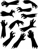 image of groping  - Halloween set of scary zombie hands silhouettes - JPG