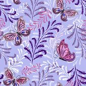 image of lilas  - Gentle violet repeating floral pattern with pink - JPG