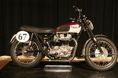 PHILADELPHIA, PA - SEPT 2: Simeone Museum shows a 1963 twin engine Triumph motorcycle , it's one of