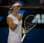 MELBOURNE - JANUARY 20: Samantha Stosur of Australia in her second round win over Vera Dushevina  of
