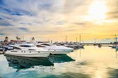 Luxury Yachts At Sunset. Marine Dock Of Modern Motor And Sailing Boats In Sunshine, Blue Water Sea,  poster