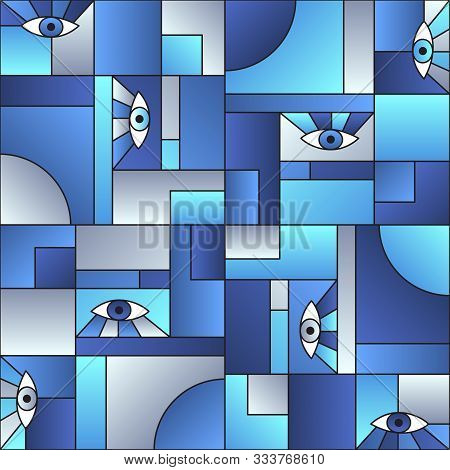 poster of Trendy Pattern With Eyes In Geometric Shapes Grid 80s And 90s Vintage Fashion Fabric Print. Patches