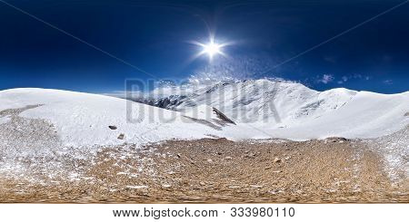poster of Spherical Panorama Of The Pamir Mountain. Slope Of Lenin Peak To An Altitude Of 5800 Meters. Spheric