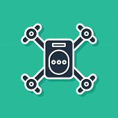 Blue Drone Flying With Action Video Camera Icon Isolated On Green Background. Quadrocopter With Vide poster