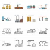 Isolated Object Of Factory And Industry Icon. Set Of Factory And Construction Stock Vector Illustrat poster