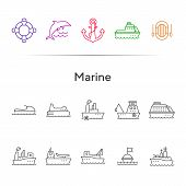 Marine Line Icon Set. Sea Transportation Concept. Vector Illustration Can Be Used For Topics Like Ma poster