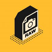 Isometric Raw File Document. Download Raw Button Icon Isolated On Yellow Background. Raw File Symbol poster