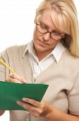 Woman Writes With Pencil & Folder