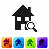 Black Search House Icon Isolated On White Background. Real Estate Symbol Of A House Under Magnifying poster