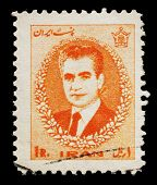 IRAN - CIRCA 1966: a stamp printed in Iran showing Mohammad Reza Pahlavi, the last Shah of Iran, cir