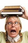 Frantic Woman With Stack Of Books