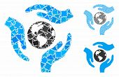 Global Care Mosaic Of Unequal Elements In Variable Sizes And Color Tints, Based On Global Care Icon. poster