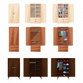Wooden Cupboard Isolated Cartoon Icon. Vector Illustration Room Furniture Of Wardrobe On White Backg poster