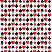 Diamonds, Hearts, Spades And Clubs Pattern. Repeating Symmetric Ornament. Tiled Back. Design For Dec poster
