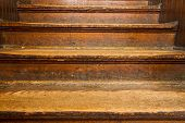 old worn wooden steps