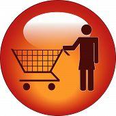 Botón Stick mujer empujando el carrito de compras.