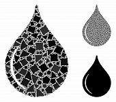 Oil Drop Mosaic Of Joggly Parts In Variable Sizes And Color Hues, Based On Oil Drop Icon. Vector Jog poster