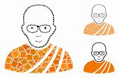 Buddhist Monk Mosaic Of Trembly Items In Different Sizes And Color Tints, Based On Buddhist Monk Ico poster