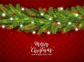 Christmas Decorations With Fir Tree Branches, Pine Cones And Christmas Lights On Red Background. Ill poster
