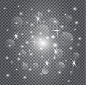 Stardust Is Glittering. White Christmas Sparkles On Transparent Background. Sparkling, Glowing Textu poster