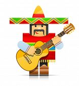 mexicano man origami toy vector illustration isolated on white background EPS10. Transparent objects and opacity masks used for shadows and lights drawing
