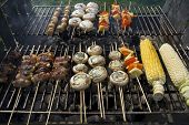 Vegetables And Meat On Barbecue