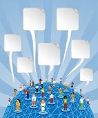 Global Social Media World With Speech Bubbles