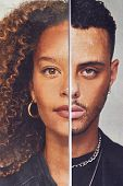 Gender Identity Concept With Composite Image Made From Halved Male And Female Facial Features poster