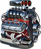 image of dragster  - Vector turbo engine.
