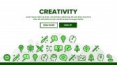 Creativity Landing Web Page Header Banner Template Vector. Brainstorming And Idea, Lightbulb In Huma poster