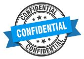 Confidential Label. Confidential Blue Band Sign. Confidential poster