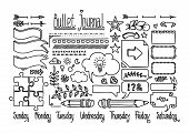 Bullet Journal And Diary Elements Isolated On White. Cute Hand Drawn Line Doodles, Speech Bubble Fnd poster