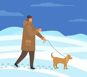 Owner Of Dog Walking With Pet On Leash Vector. Man Wearing Warm Jacket And Hat Strolling In Winter E poster