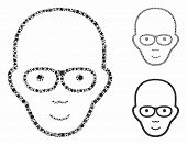 Bald Head Mosaic Of Humpy Items In Various Sizes And Shades, Based On Bald Head Icon. Vector Joggly  poster