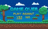 Game Over Screen Vector, Landscape With Pixel Graphics Of 8 Bit Game, Question For Player To Continu poster