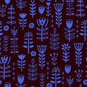 Plants And Deer In Nordic Style Seamless Pattern. poster
