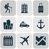 Journey Icons Set With City, Suv, Hotel And Other Metropolis Elements. Isolated Vector Illustration  poster