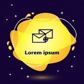 Black Line Envelope Icon Isolated On Dark Blue Background. Received Message Concept. New, Email Inco poster