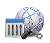 Site optimization and configuration concept. Screwdriver and spanner tools with configuration panel and abstract globe. Vector illustration