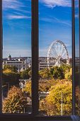View From The Window To Budapest Eye And St. Stephens Basilica In Budapest, Hungary poster