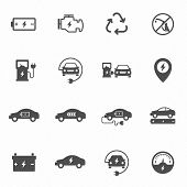 Electric Eco Car Vector Icons Set Isolated On White Background. Electric Ecological Transport Comcep poster