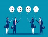 Feelings Of The Employees. Concept Business Vector. Feel, Business People, Balloons. poster