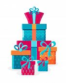 Big Pile Of Colorful Wrapped Gift Boxes. Mountain Gifts. Beautiful Present Box With Overwhelming Bow poster