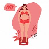 Beautiful Young Woman In Underwear Is Standing On The Floor Scales. She Gained Weight. Weight Loss A poster
