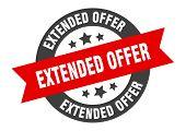 Extended Offer Sign. Extended Offer Black-red Round Ribbon Sticker poster