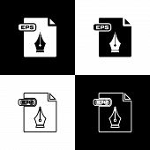 Set Eps File Document. Download Eps Button Icon Isolated On Black And White Background. Eps File Sym poster